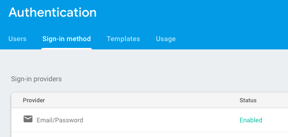 Firebase email/password auth